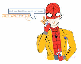 Spidey Child and Iron Dad talking about churros. by Tokyoflower