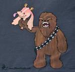 Chewie v Jar Jar - hand painted t-shirt