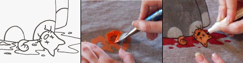 KilowattKatie painting her t-shirts