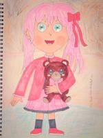 Cute Little Girl and Bear