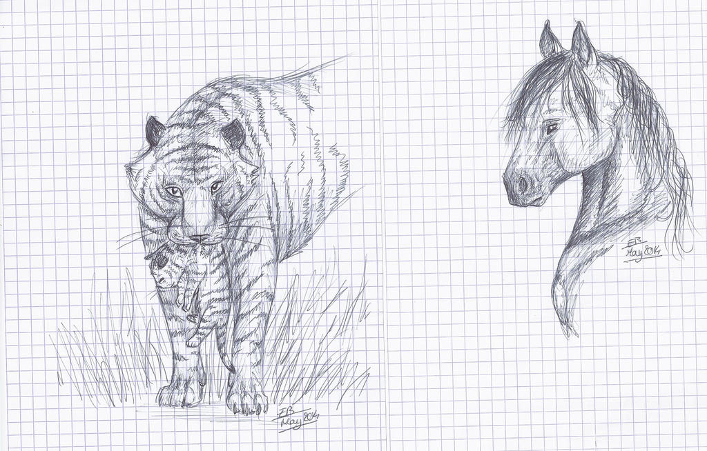 Horse and Tigers by Liliandril