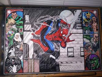Spiderman in the Rain by JohnJohnstonArt