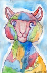 Rainbow Lama Watercolor by ZinStone