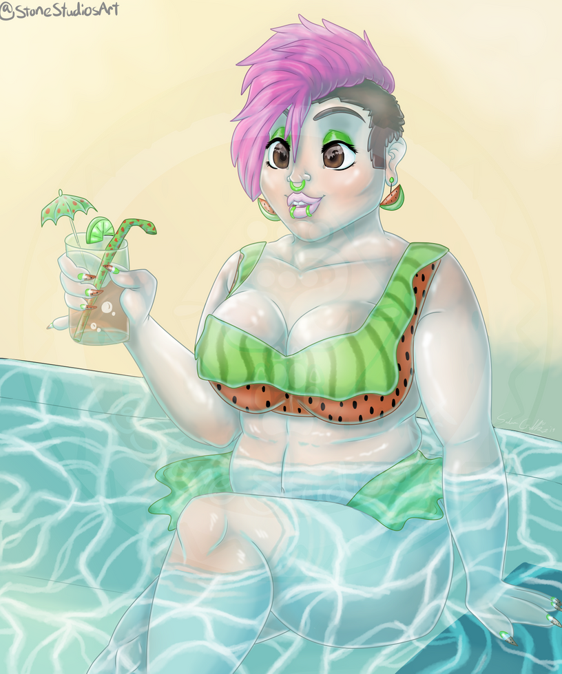 Watermelon Queen - Painting by ZinStone