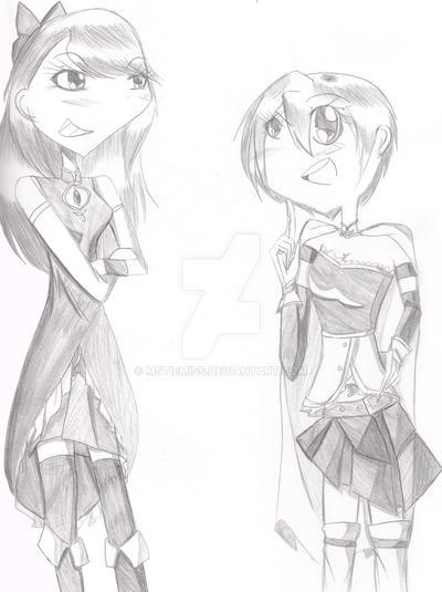 Art trade: Lola and Eden x Sayaka and Kyouko by MSTieMiss