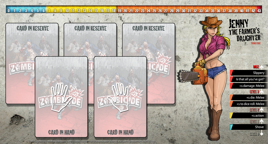 Zombicide Redesigned Character Sheet - Jenny by ZAQUARD