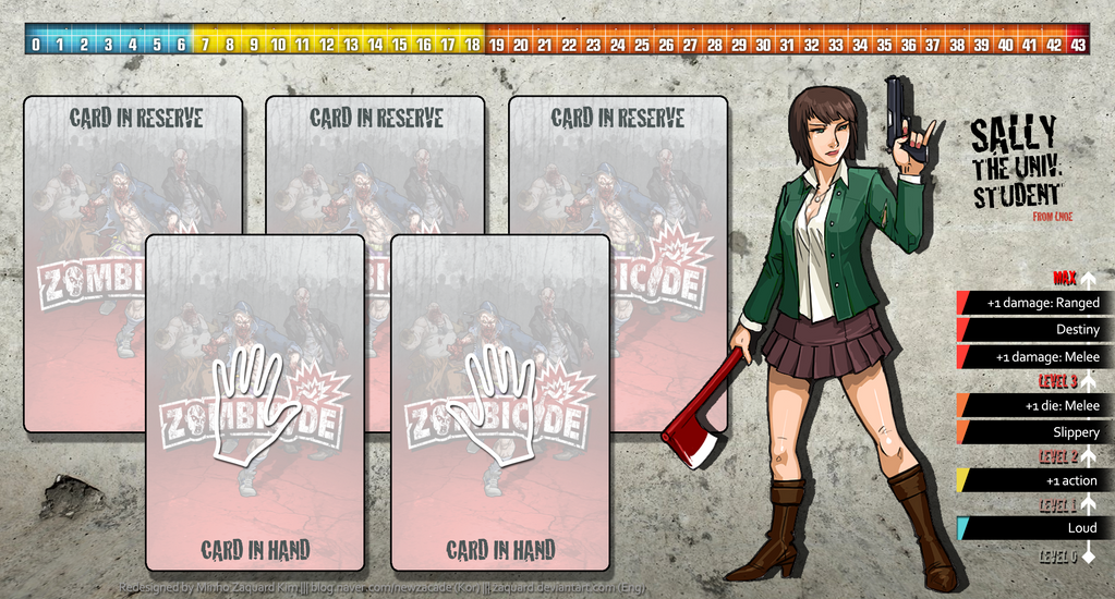 Zombicide Redesigned Character Sheet - Sally by ZAQUARD