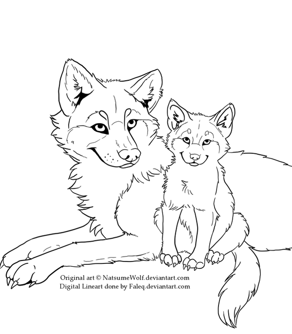 Free Wolf and Puppy Lineart by Faleq