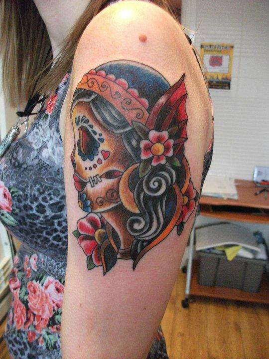 traditional gypsy skull tattoo by ~salamanderink on deviantART