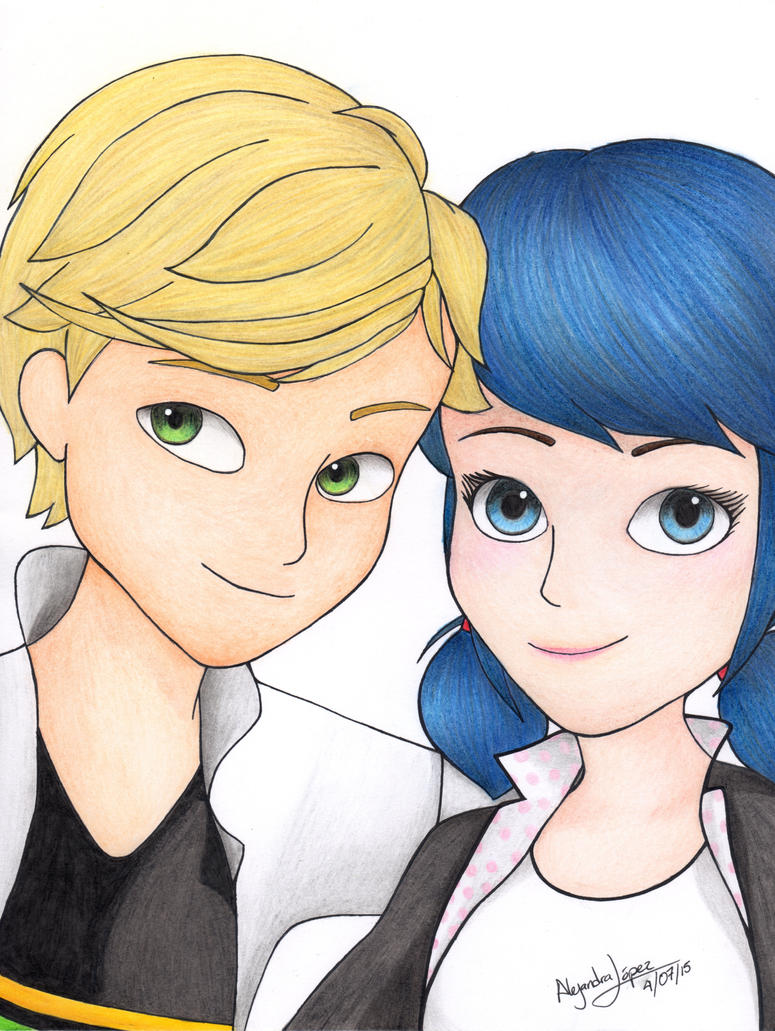 Miraculous: Marinette and Adrien by aleprettycat