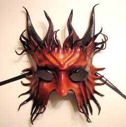 Horned Satyr Leather Mask