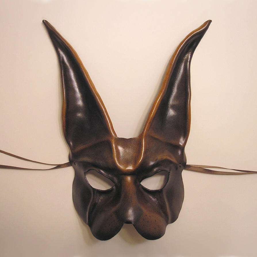 Brown Rabbit Leather Mask by teonova