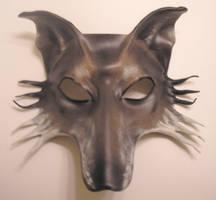 Grey Wolf Leather Mask by teonova