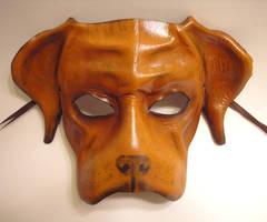 Brown Dog Leather Mask by teonova