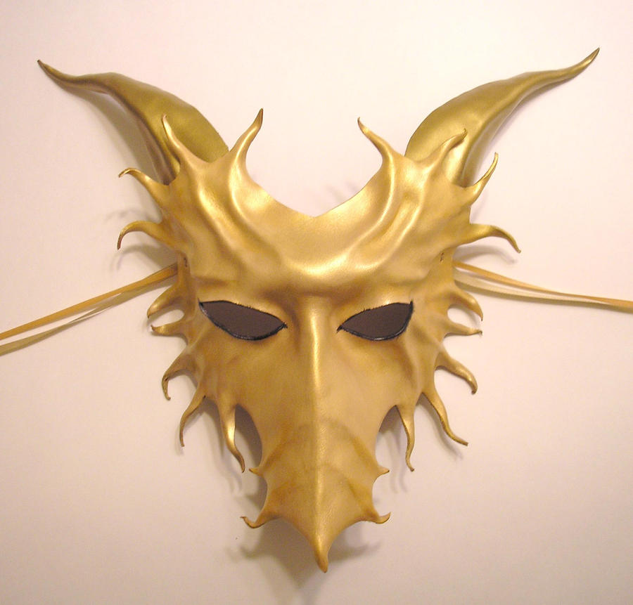 Gold Leather Dragon Mask by teonova