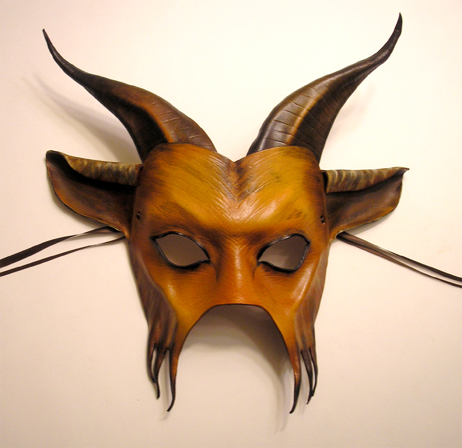 Horned Goat Leather Mask by teonova