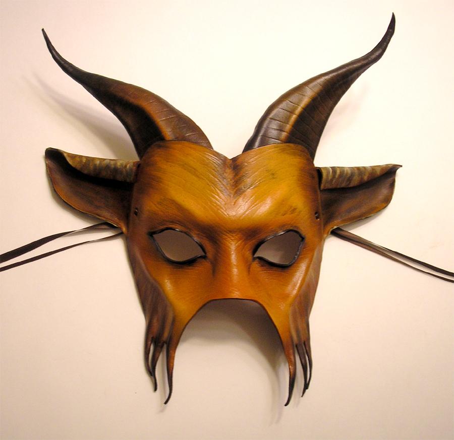 Horned Goat Leather Mask by teonova