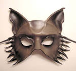 Grey Brown Leather Wolf Mask