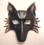 Wolf or Dog Leather Mask black and brown
