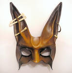 Tribal Rabbit Leather Mask brown