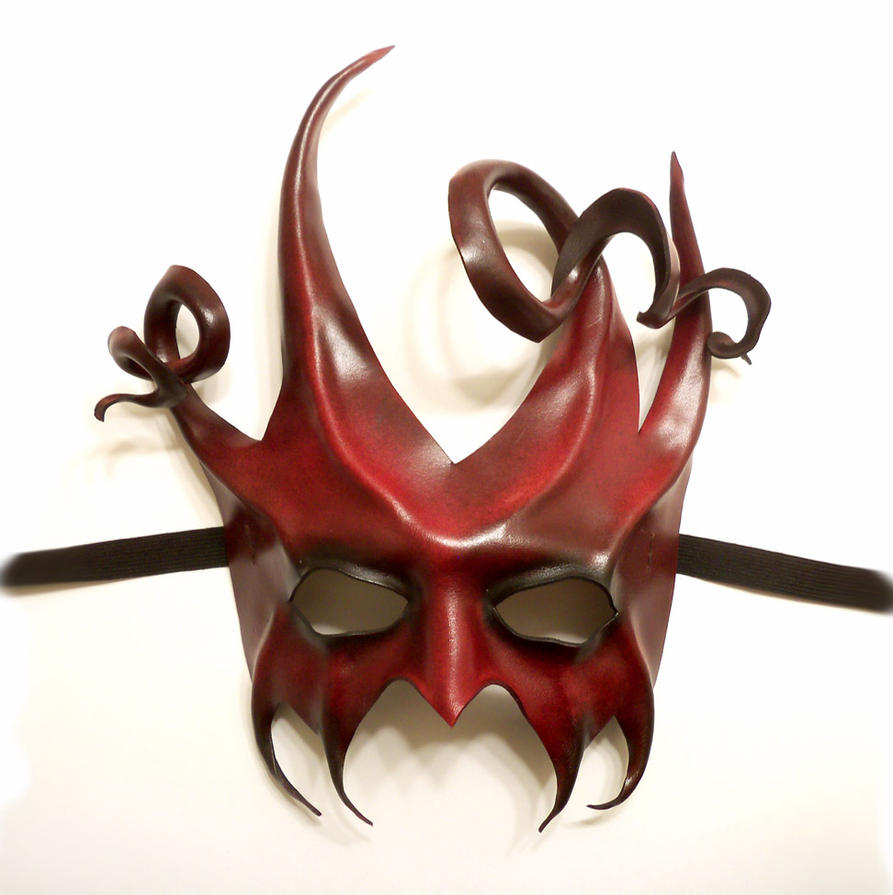 black and red mask leather mask devilish jester