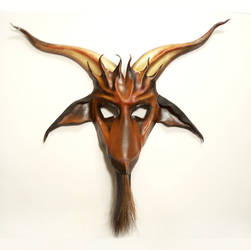 Baphomet Goat Leather Mask horsehair beard brown by teonova