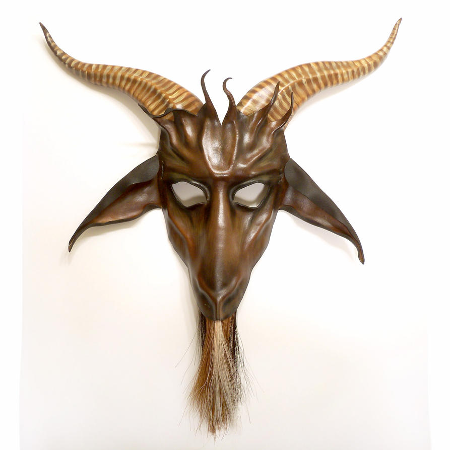 leather goat mask brown black tan baphomet krampus by teonova on