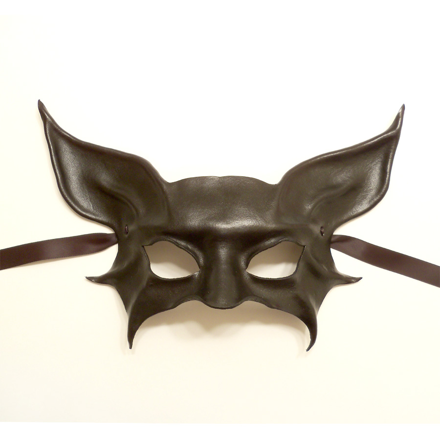 black leather mask bat or cat animal creature by teonova