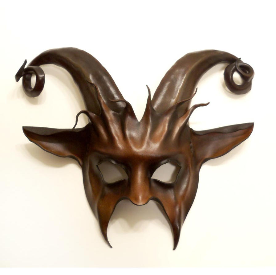 goat leather mask curled horns krampus by teonova on deviantart