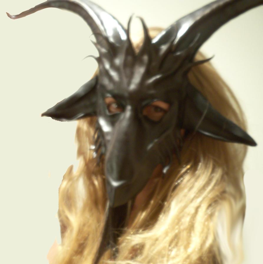 baphomet goat leather mask by teonova grey black by