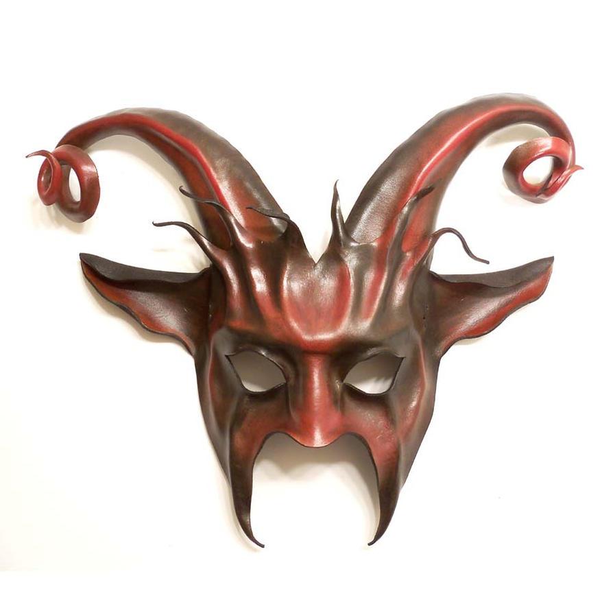 Goat Leather Mask curled horns Krampus by teonova on DeviantArt