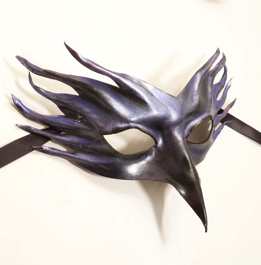 crow raven bird leather mask by teonova artisan crafts costumery masks