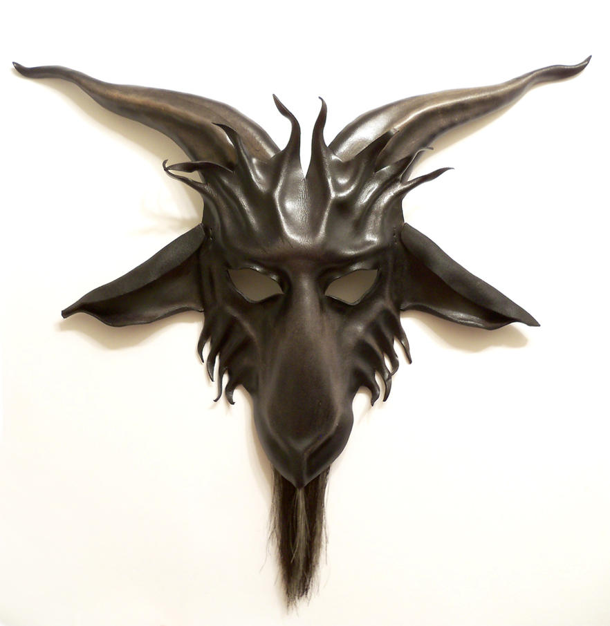 leather goat mask baphomet krampus horsehair beard by teonova on