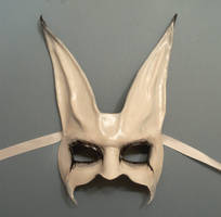 Freaky Rabbit leather Mask spooky white grey blk by teonova