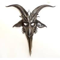 Leather Goat Mask Baphomet Krampus grey black by teonova