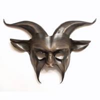 Leather Goat Mask grey black brown by Teonova by teonova