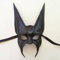 Black Jackal or Bat Leather Mask half face Anubis by teonova