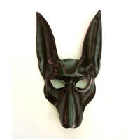 Black Jackal Leather Mask Egypt Anubis Dog by teonova