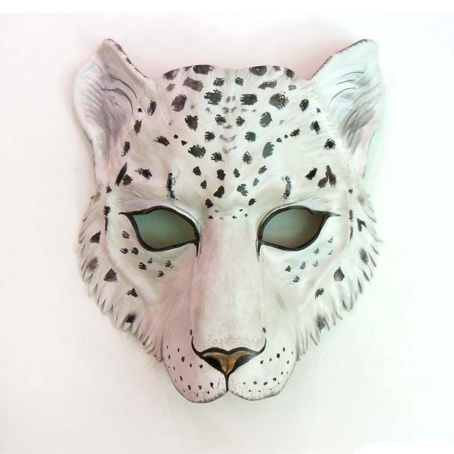 Snow leopard leather mask by teonova by teonova on deviantart for Cheetah face mask template