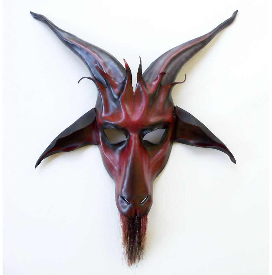 baphomet goat leather mask red black grey teonova by