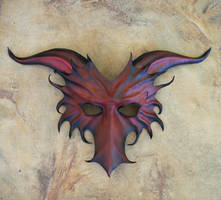 Leather Dragon Mask in Red with Black by teonova