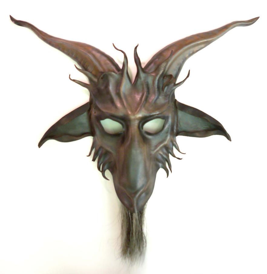 Baphomet Goat Leather Mask by Teonova grey blk brn by teonova
