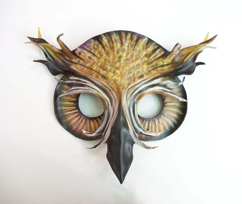 Owl Leather mask by Teonova horned owl by teonova