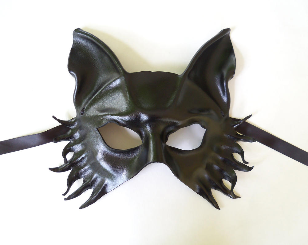 Black Leather Wolf Fox Dog Mask Teonova by teonova