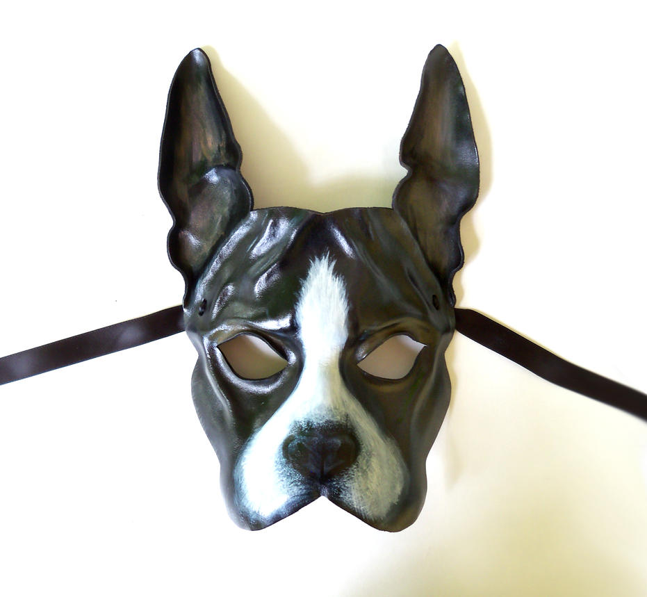 Boston Terrier Dog Leather Mask by Teonova by teonova