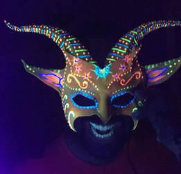 Black Light Reactive Flourescent Leather Goat Mask by teonova