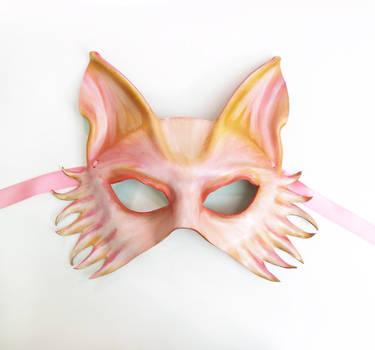 Pink Fantasy Wolf Fox Dog Leather Mask 1 by teonova