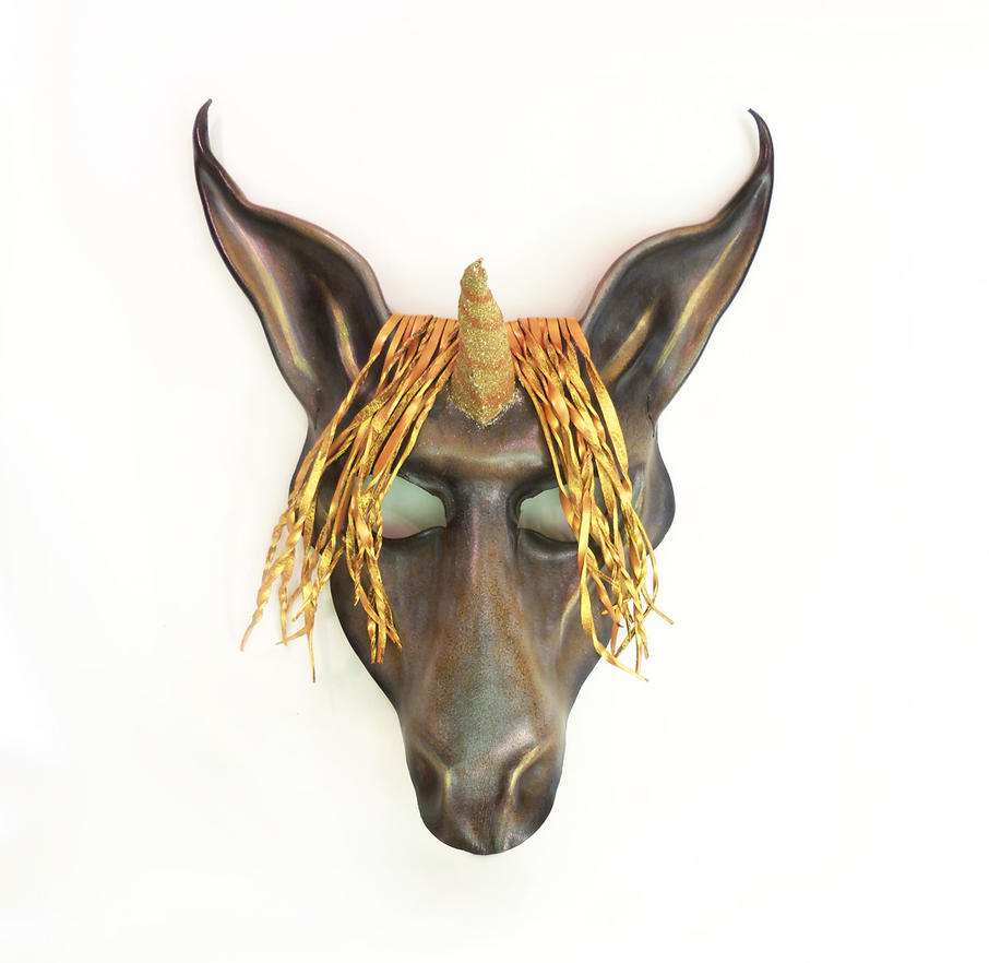Unicorn Leather Mask By Teonova Grey And Gold by teonova