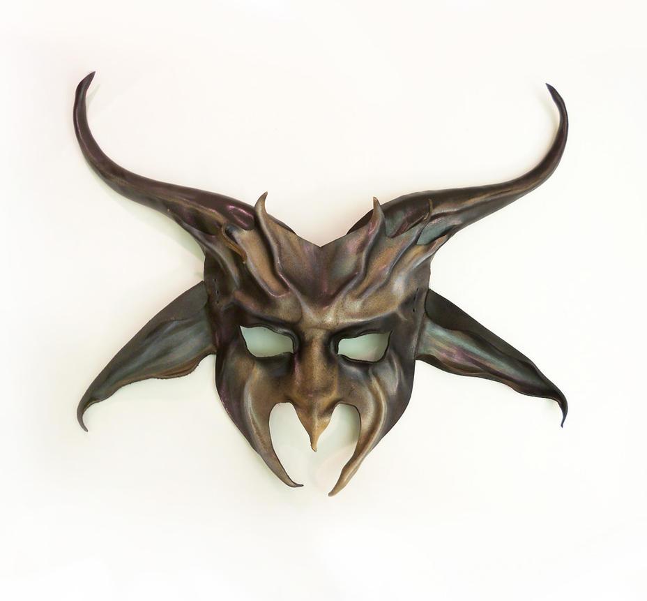 Baphomet Goat Pagan Half Face Leather Mask Teonova by teonova