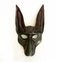 Black Jackal Leather Mask Anubis Pharaoh Hound by teonova
